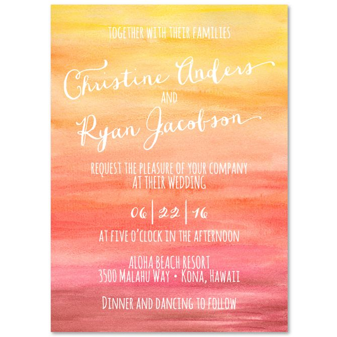 Sunset Wedding Invitations   Sunset