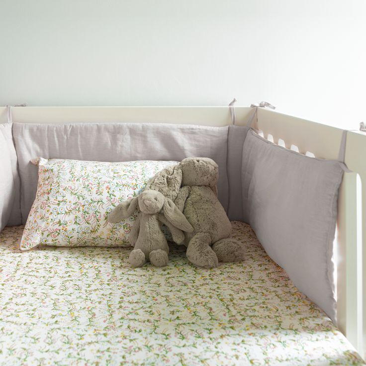 Grey linen cot bed bumper