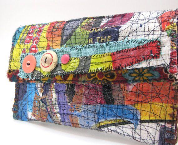 Handmade Clutch Bag Boho Colorful Upcycled Art by itzaChicThing