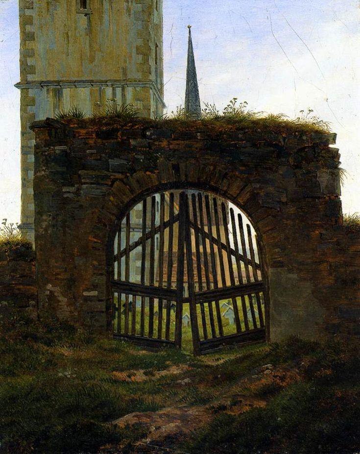Caspar David Friedrich (1825-1830)   [The Cemetery Gate / The Churchyard]