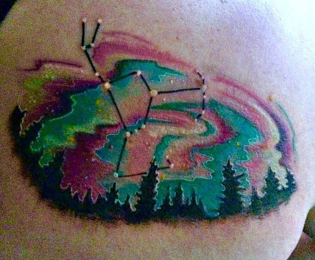 northern lights Orion tattoo