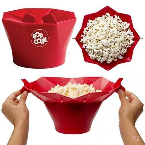 2x-Kitchen-Foldable-Silicone-Microwave-Popcorn-Maker-Container-Cooking-Tool-Red