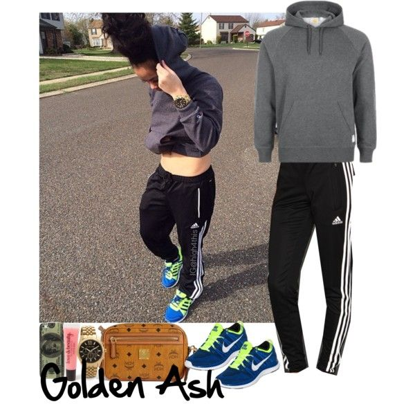 """I know this girl She a real hood girl And she with the sh*t Keep her hair tied up Big bamboos Mike Jordan kicks with that Big butt , but when I try To holla, she don't exist"", created by fashionsetstyler on Polyvore"