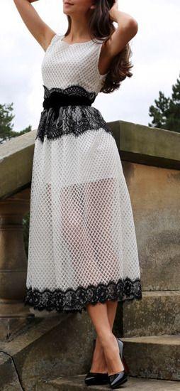 White Sleeveless Bravissimo Nicely Lace Grid Maxi Dress