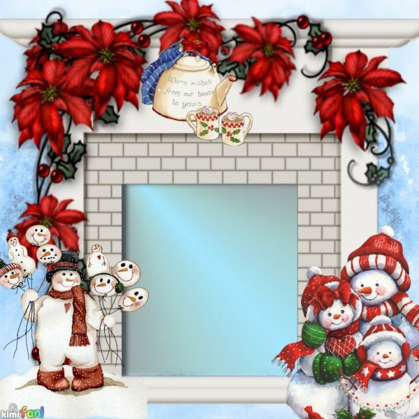 Xmas Cheer. Click to add your own photo to the fireplace! Merry #Christmas!  #fireplace #snowman #snowmen #poinsetta