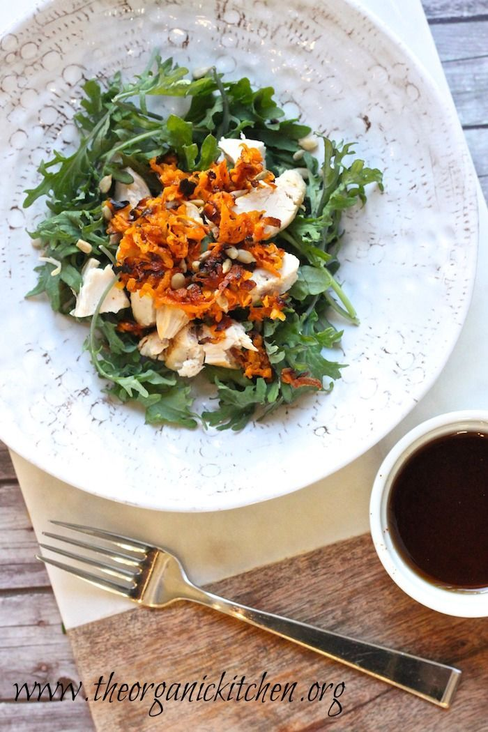 Baby Kale Chicken Salad with Crispy Sweet Potatoes | The Organic ...