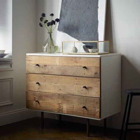 Town meets country on this Reclaimed Wood + Lacquer Dresser, framing rustic pine drawers in a sleek lacquer frame. The wood comes from solid pine shipping pallets, reinvented into unique storage pieces for the home.