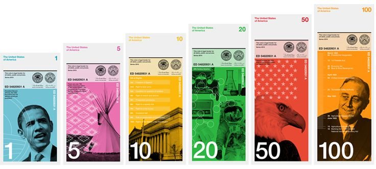 A proposed redesign of American paper currency based on differing colors and vertical formatting. My favorite? The 10 with the Bill of Rights on it.