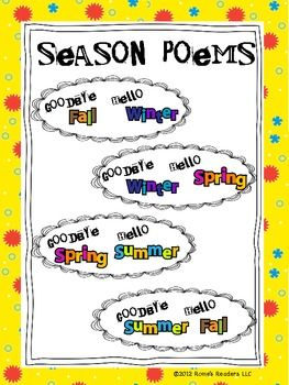 "FREEBIE ""Goodbye Summer, Hello Fall"" ALL Season Poetry ..."