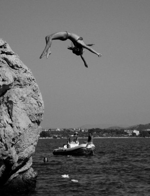 Cliff diving...not only cliff diving but goofing around while doing it is REALLY fun!