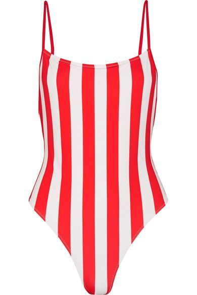 Crimson and white stretch-polyamide Pulls on 80% polyamide, 20% elastane; lining: 85% polyamide, 15% elastane Hand wash Designer color: Cherry Stripe Lotion, sunscreen, oil and chlorine can cause discoloration of this item; this is not a manufacturing defect. Please follow care instructions to keep your swimwear in the best condition Imported