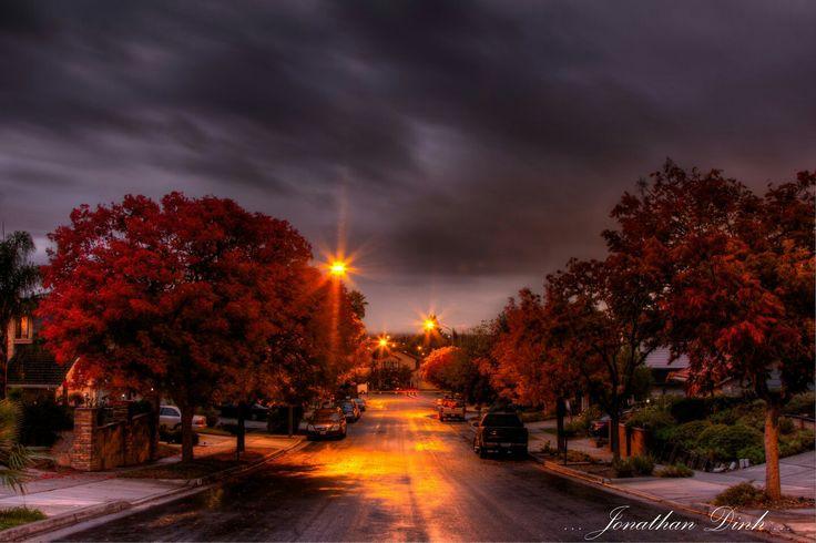 Autumn Town Road