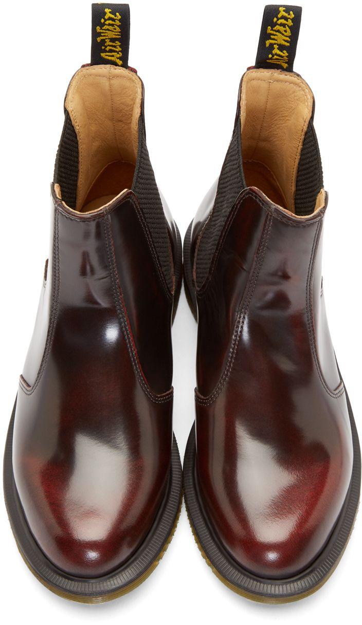 Dr. Marten Flora Chelsea Boots in Dark cherry red.