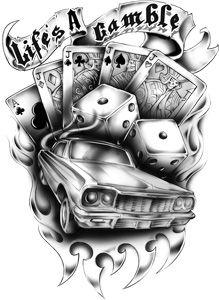 old school tattoo dice and poker cards - Google zoeken