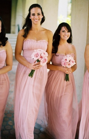 pale pink for maid of honor, pale gray for bridesmaids. love the slight change of color so she stands out