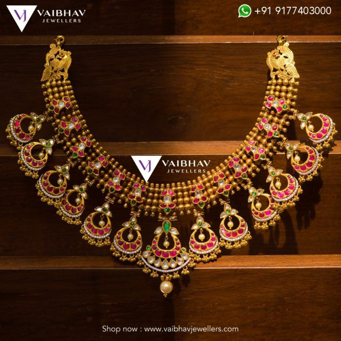 a04778cf17187 Antique Gold Necklace designs by Vaibhav jewellers photo   Indian ...