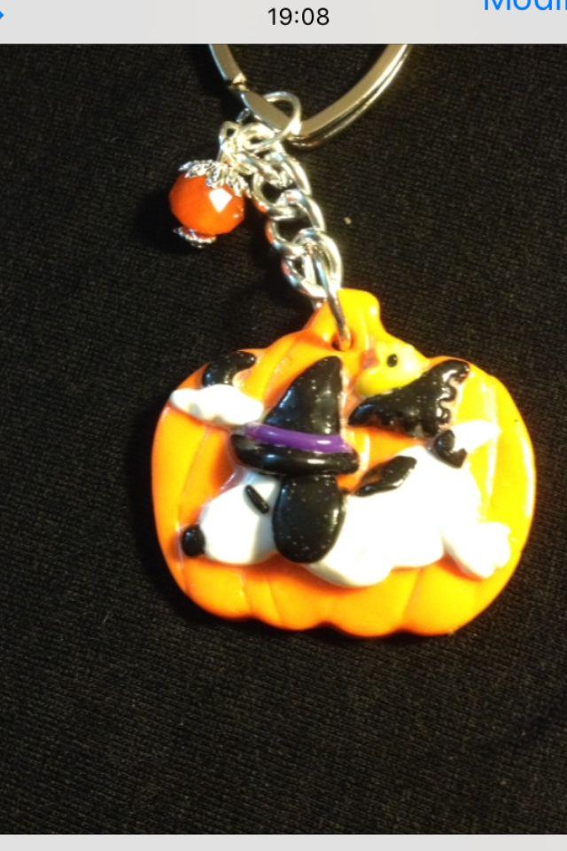 Portachiavi in fimo fatto a mano snoopy halloween