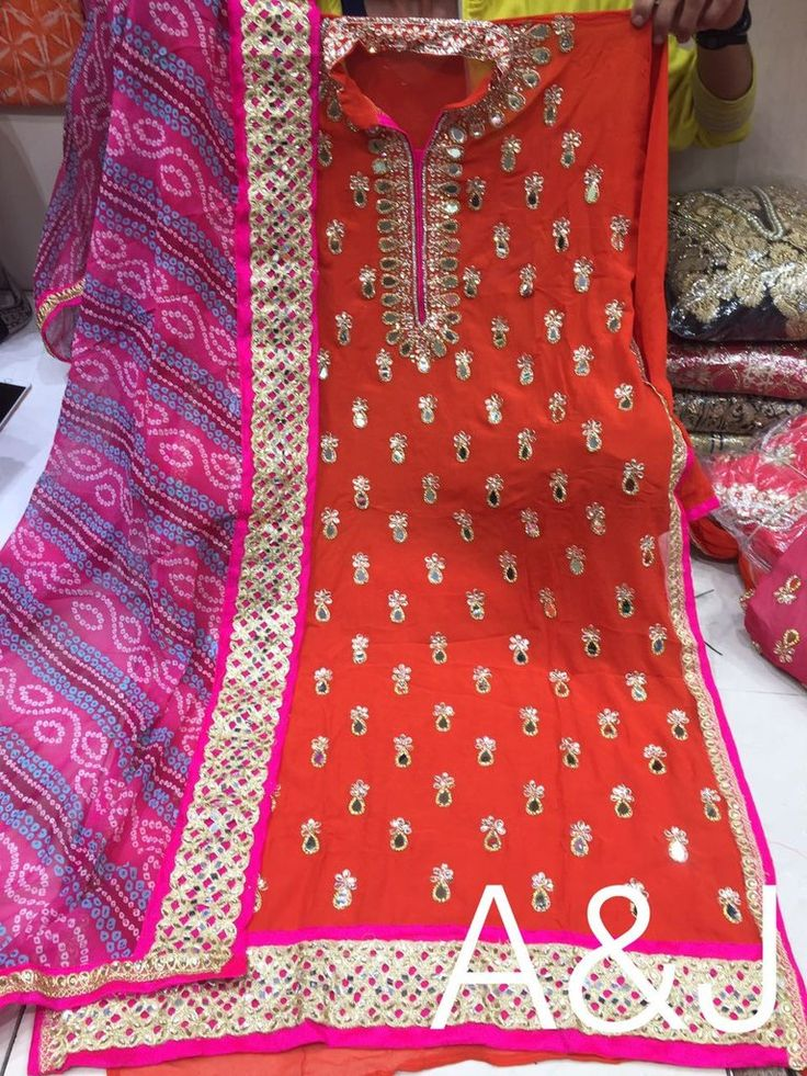Pure georgette suit with bandhini dupatta and matching churidar