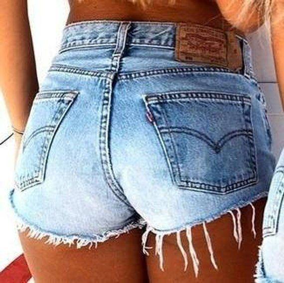0589e9a2 Levi Shorts 501 LEVI'S Denim Cutoff Shorts Tattered Blue Distressed High-Waist  Levi Jean Shorts