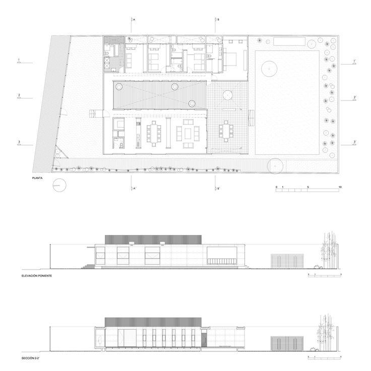 Planta, Sección y Elevación casa 2g