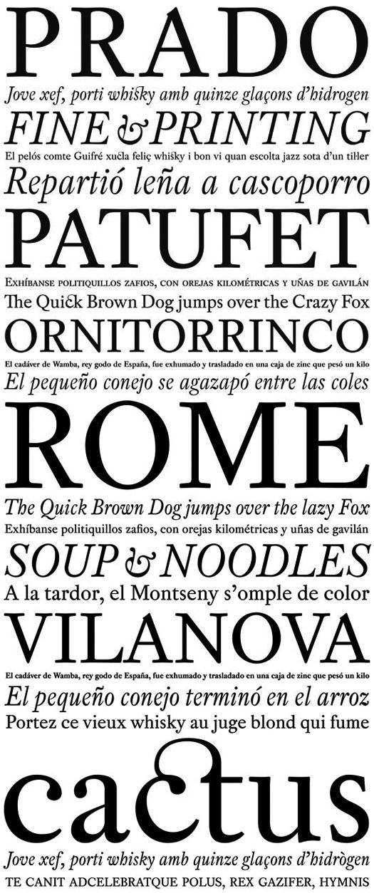 """Pradell typeface. Studio: Type Republic. Designer: Andreu Balius. """"A 2001-2003 research study on XVIIIth century spanish type specimens. Freely inspired from punches cut by catalan punchcutter Eudald Pradell (1721-1788)."""""""