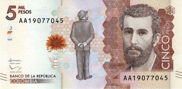 billete de 5.000 pesos de Colombia