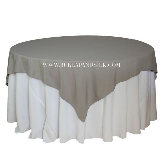 72 x 72 inch Gray Table Overlays, Square Gray Tablecloths, Matte Table Overlays for 5 FT Round Tables | Wholesale Table Linens