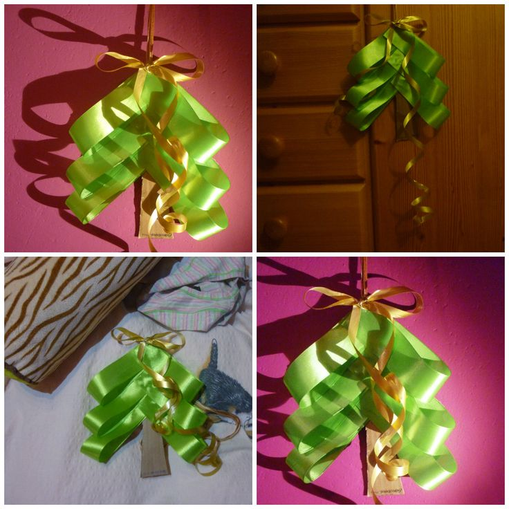 Christmas tree made from green ribbon and ordinary cardboard (originally shoebox) which will grace our front door:-) #DIY