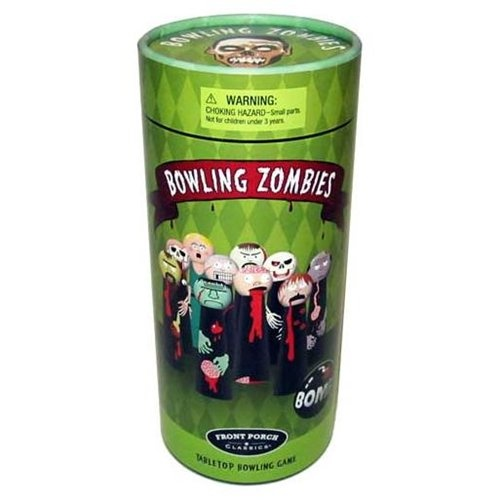 Bowling Zombies: This fun table-top bowling game is designed for take-anywhere play, while at home, work or digging up old friends. Whether you're a zombie hunter or a helpless damsel yourself, you are sure to have an exciting time knocking down zombies while avoiding a lethal knock to the blonde-haired damsel herself.