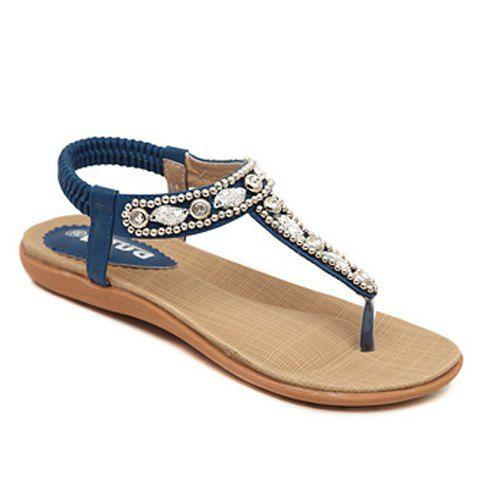 Stylish Beading and Rhinestones Design Flip-Flop Women's Sandals