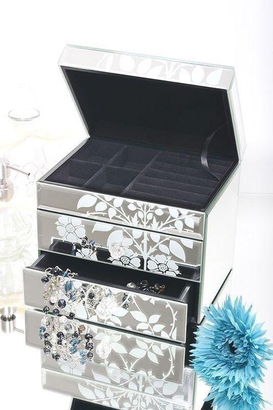 Mirrored Jewellery Box Glass Jewelry Case Two Drawers Storage Trinket Wife Gift  #MirroredJewelleryBox