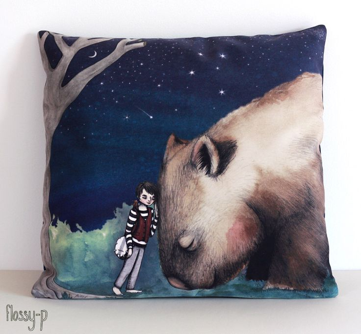 Giant Wombat and Banjo Boy cushion cover. Decorative pillow. Velvet. Illustration. Australian gift with original art by flossy-p by flossypArt on Etsy https://www.etsy.com/listing/195631694/giant-wombat-and-banjo-boy-cushion-cover