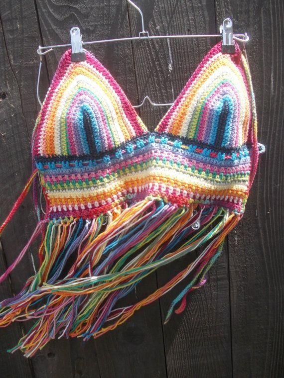 Crochet Halter Top Hippie Top Rainbow Top by GabysSchaufenster, $35.00