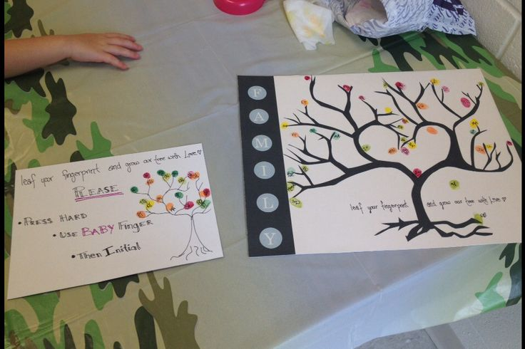Baby shower nature theme guest sign in fingerprint tree