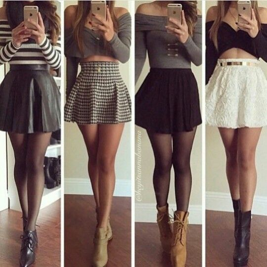 Booties, long sleeve off the shoulder crop tops, high waisted skirts