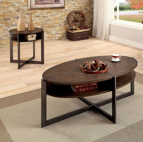 2 Pc Furniture Of America Matilda Rustic Coffee Table End Table Set Cm4312
