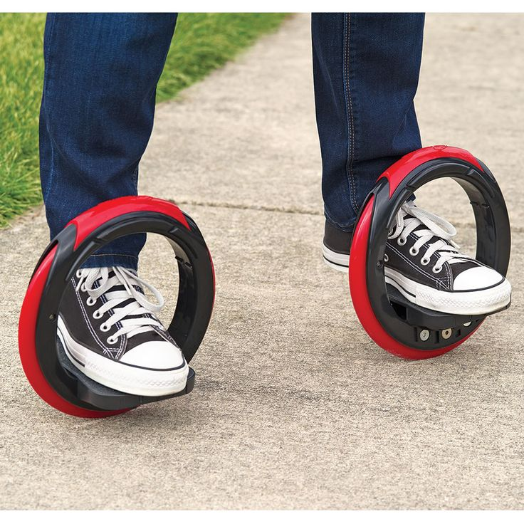 These are the annular skates that are propelled by leaning side to side, allowing you to skateboard without having to push off the ground. Riders simply place their feet on the two platforms and lean side-to-side to rotate the rubber wheels around the feet, propelling riders forward in a serpentine motion similar to longboard skateboarding.