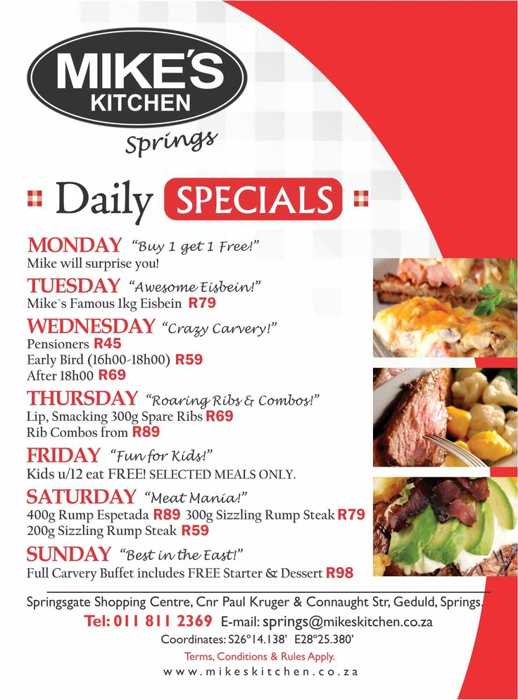 Mikes Kitchen Springs Daily Specials Mikes