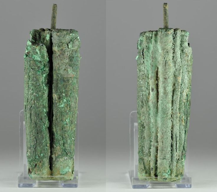 Kohl tube ancient cosmetic Holy land bronze kohl tube with applicator, Iron Age, 1st millennium B.C. 13.3 cm high. Private collection