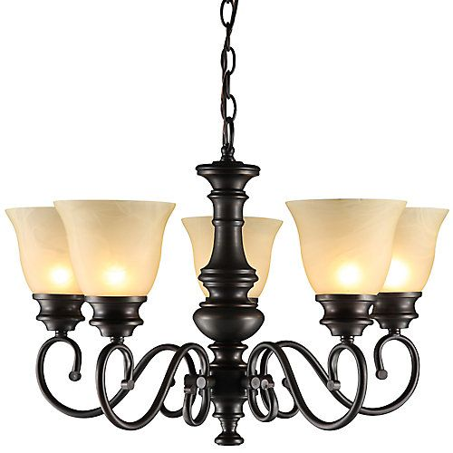 reg price: $127 uses regular bulbs .This classic elegant 5-Light Chandelier will add style to any room. Using Oil-Rubbed Bronze finish that compliments any décor, along with Champagne-Alabaster Glass Shades. A timeless design for enhance a dining room, kitchen or even an entry way.