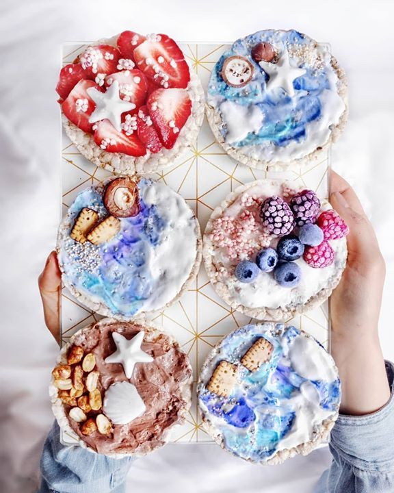Rice Cakes With Different Kinds Of Yogurt Creams And Toppings Which One Will You Choose 1 Strawberries And White Chocolate 236 Blue Spirulinablue Matcha