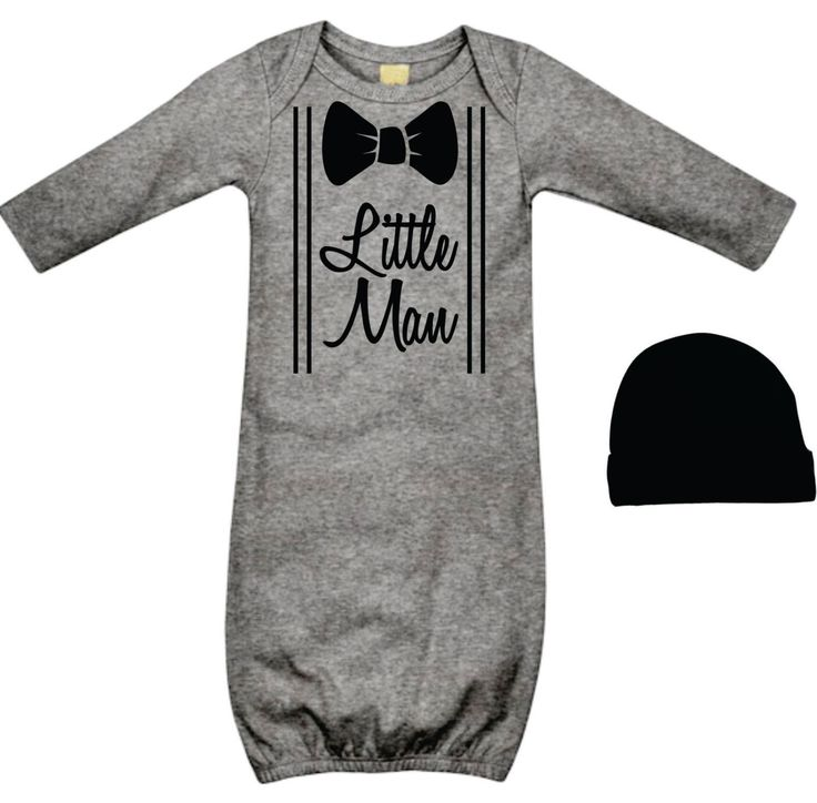 Cool Baby Boy's Take Home Outfit - Little Man Grey and Black