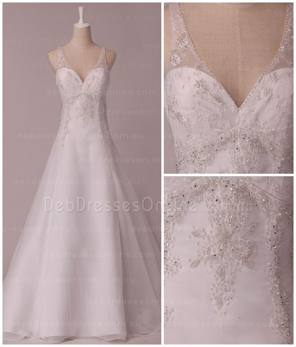 Gorgeous A-line #debutantegown with V-neckline and deep V back. Lace shoulder straps plunge into the neckline, while glamorous silver beading accents the bodice. #backlessdebdress #chiffondebdress #debutantegown #debdressesonline  #debdresses  #debdressshop  #debutante #debutantes2016  #debutanteball #debdressesmelbourne #lowbackdebdress