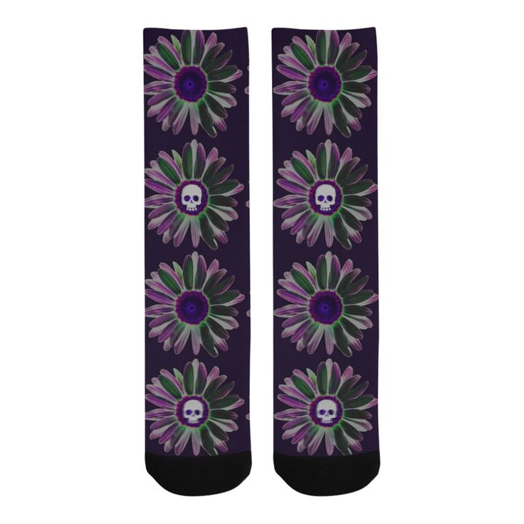 Skull Flowers Knee-High Socks