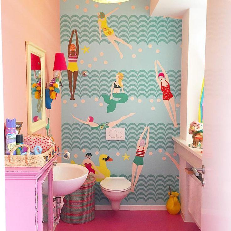 Wallpaper bathroom rice denmark / showroom Hamburg