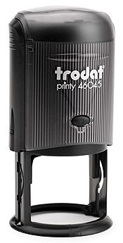 """Trodat Printy 46045 1-11/16"""" (45mm) round impression. Up to six lines of text.  Available in: black, red, blue, green and purple ink"""