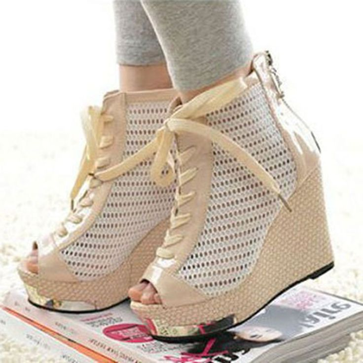 Shoespie Mesh Lace Platform Wedge Sandals