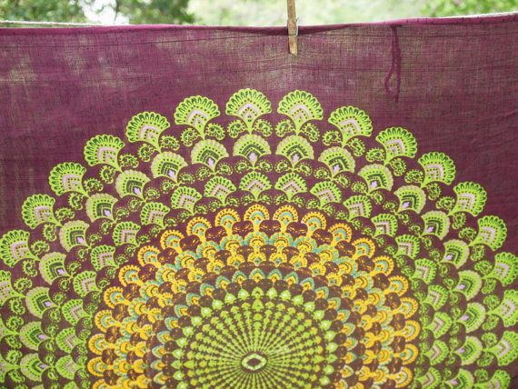 Boho Hippie Tapestry Fabric Colorful Mandala Pattern - Amethyst Purple on Etsy, $18.00