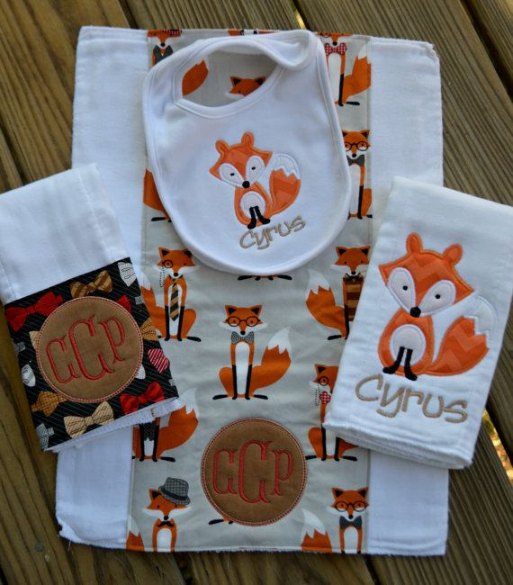 Baby Boy Monogrammed and Appliquéd Burp Cloths by BabyBugzBoutique