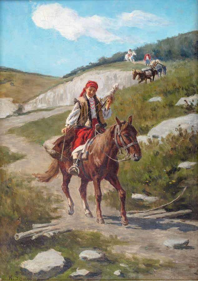 Władysław Karol Szerner: Hucułka na koniu olej, płótno, 61 × 42 cm sygn. l.d.: W.Szerner iun.